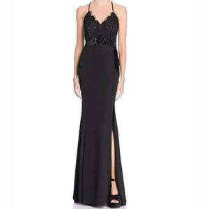 Black Formal Gown with Velvet and Lace